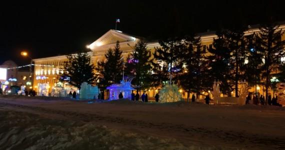Ледяные фигуры на Новособорной